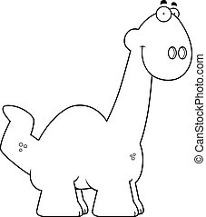 Smiling Cartoon Apatosaurus - A cartoon illustration of a...