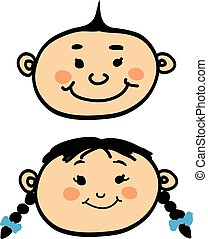 Smiling cartoon baby boy and girl