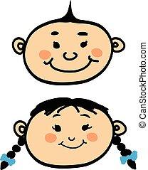 Smiling cartoon baby boy and girl