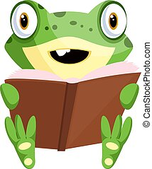 Smiling cartoon baby frog reading a book, illustration, vector on white background.