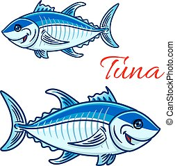 Smiling cartoon bluefin tunas for fishing design