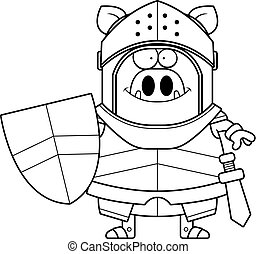Smiling Cartoon Boar Knight