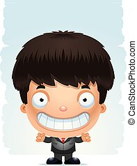 Smiling Cartoon Boy in a Suit