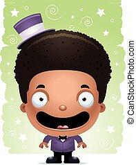 Smiling Cartoon Boy Magician