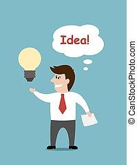 Smiling cartoon businessman with a light bulb