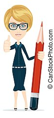 Smiling cartoon Businesswoman or teacher giving the thumbs up with a big red pencil