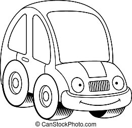 Smiling Cartoon Car - A cartoon illustration of a car...