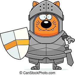 Smiling Cartoon Cat Knight