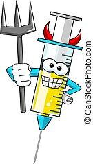 Smiling cartoon character mascot medical syringe vaccine devil vector illustration isolated