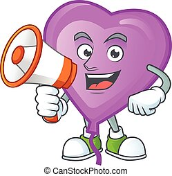 Smiling cartoon character of purple love balloon with megaphone. Vector illustration