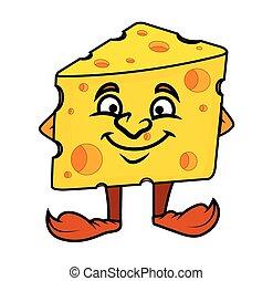 Smiling Cartoon Cheese Vector