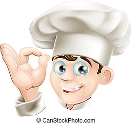 Smiling cartoon chef - Illustration of a happy smiling...