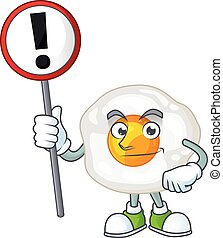 Smiling cartoon design of fried egg with a sign