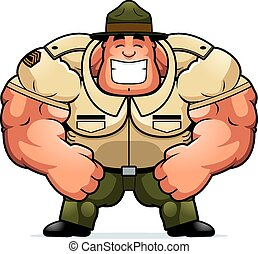 Smiling Cartoon Drill Sergeant - A cartoon illustration of a...