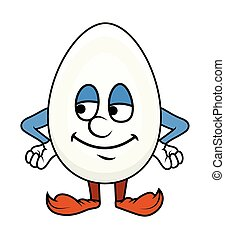 Smiling Cartoon Egg Character