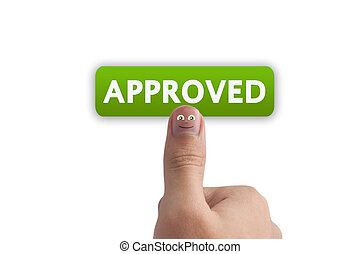 Smiling cartoon face on human thumb up on background