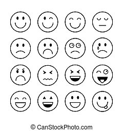 Smiling Cartoon Face People Emotion Icon Set