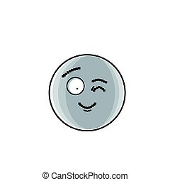 Smiling Cartoon Face Winking Positive People Emotion Icon