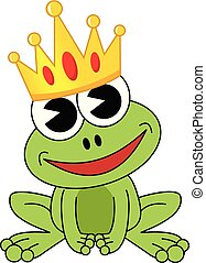 Smiling cartoon frog with crown isolated