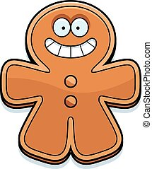 Smiling Cartoon Gingerbread Man
