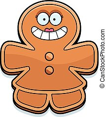 Smiling Cartoon Gingerbread Woman