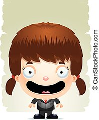 Smiling Cartoon Girl in a Suit