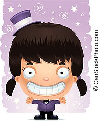 Smiling Cartoon Girl Magician