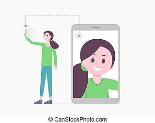 Smiling cartoon girl taking selfie