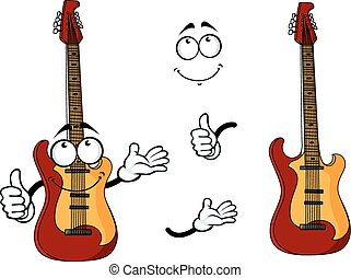 Smiling cartoon guitar character with arms