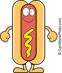 Smiling Cartoon Hot Dog