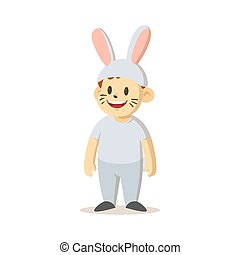 Smiling cartoon kid dressed as a bunny. Flat vector illustration, isolated on white background.