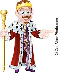Smiling Cartoon King - A cute king cartoon character holding...