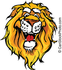 Smiling Cartoon Lion Mascot Vector