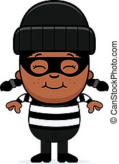 Smiling Cartoon Little Burglar - A cartoon illustration of a...