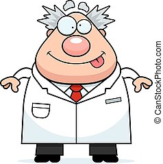 Smiling Cartoon Mad Scientist