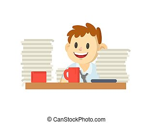 Smiling cartoon male character behind the desk with pile of papers on it. Flat vector illustration, isolated on white background.