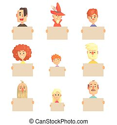 Smiling cartoon men, women and kids characters with empty banners set of colorful vector illustrations