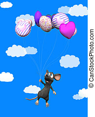 Smiling cartoon mouse flying with balloons.