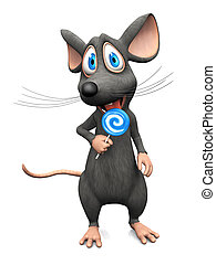 Smiling cartoon mouse licking a lollipop.