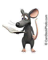 Smiling cartoon mouse reading a book.