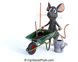 Smiling cartoon mouse ready for gardening.