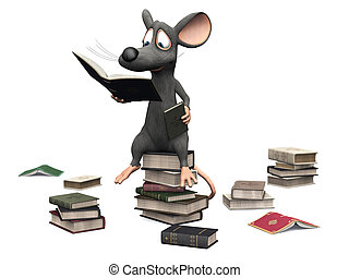 Smiling cartoon mouse sitting on a pile of books.