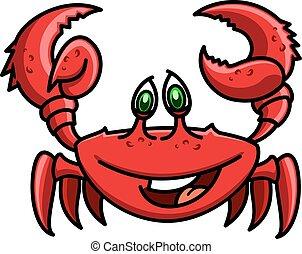 Smiling cartoon ocean red crab character