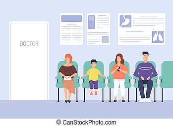 Smiling cartoon people sitting on chairs waiting doctor ...