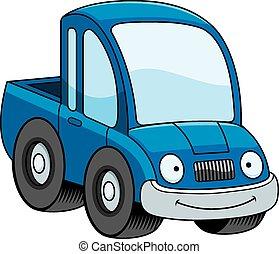 Smiling Cartoon Pickup Truck - A cartoon illustration of a...