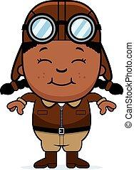 Smiling Cartoon Pilot - A cartoon illustration of a child...
