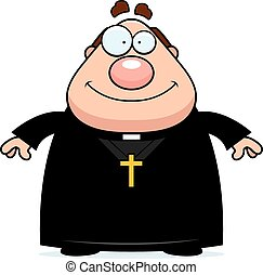 Smiling Cartoon Priest - A cartoon illustration of a priest...