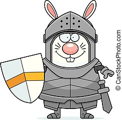 Smiling Cartoon Rabbit Knight