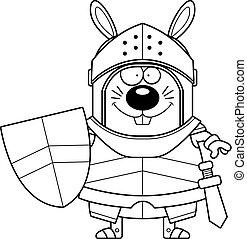 Smiling Cartoon Rabbit Knight