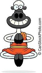 Smiling Cartoon Sheep Monk